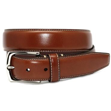 Burnished Tumbled Leather Belt - Saddle Tan