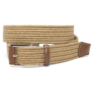 Italian Mini Woven Cotton Stretch Belt - Khaki