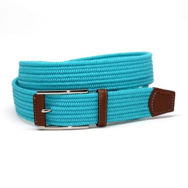 Italian Mini Woven Cotton Stretch Belt - Turquoise