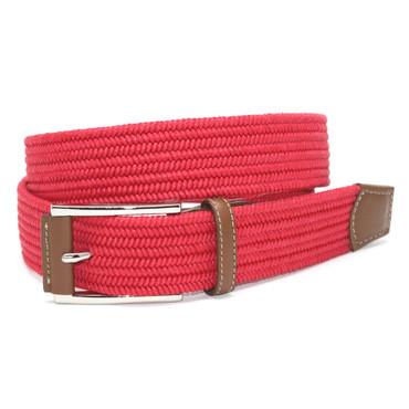 Italian Mini Woven Cotton Stretch Belt - Red