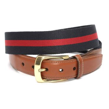 European Ribbed Striped Surcingle Belt - Navy/Red