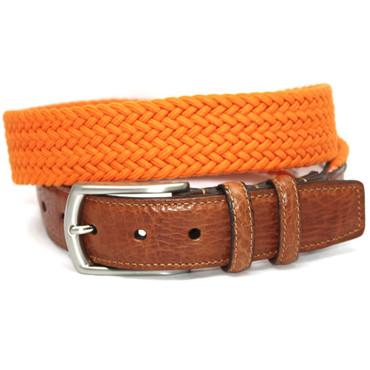 Italian Woven Cotton Elastic Belt - Orange