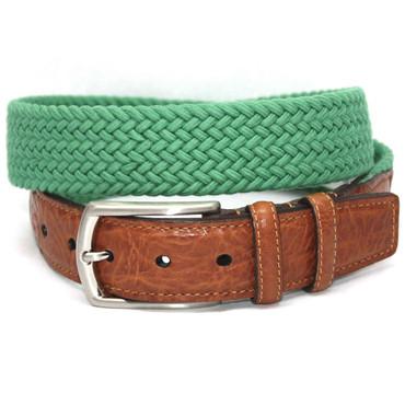 Italian Woven Cotton Elastic Belt - Light Green