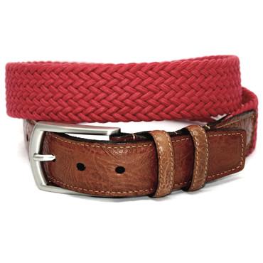 Italian Woven Cotton Elastic Belt - Red
