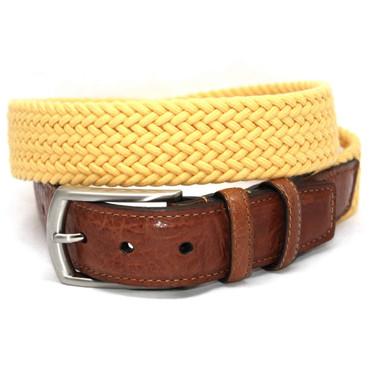 Italian Woven Cotton Elastic Belt - Yellow