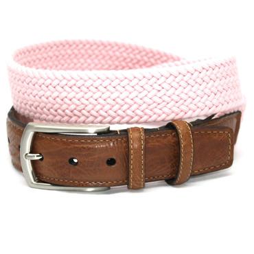 Italian Woven Cotton Elastic Belt - Pink