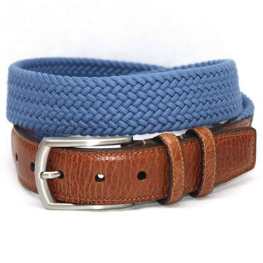 Italian Woven Cotton Elastic Belt - Royal Blue