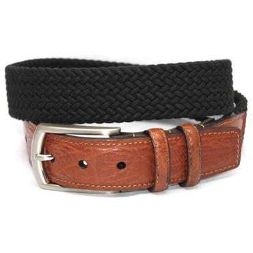 Big and tall Italian Woven Cotton Elastic Belt - Black