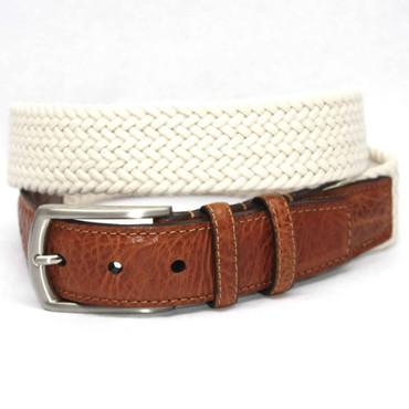 Big and Tall Italian Woven Cotton Elastic Belt - Cream