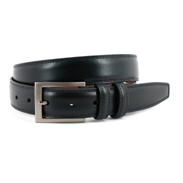 Italian Aniline Leather Belt in Black
