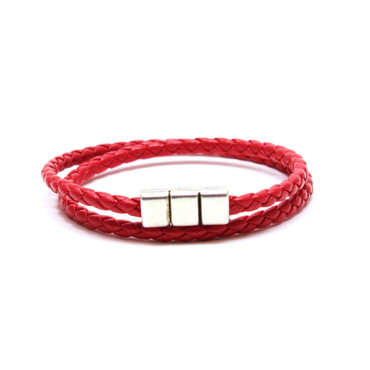 Braided Leather Double Wrap Bracelet - Red