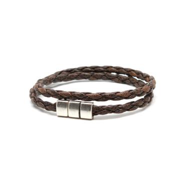 Braided Leather Double Wrap Bracelet - Vintage Tan