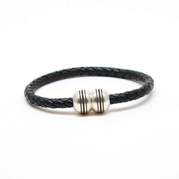 Braided Leather Hemisphere Bracelet - Black