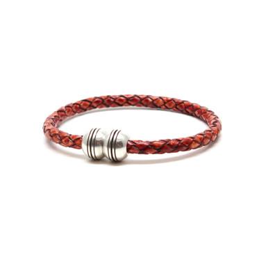 Braided Leather Hemisphere Bracelet - Whiskey