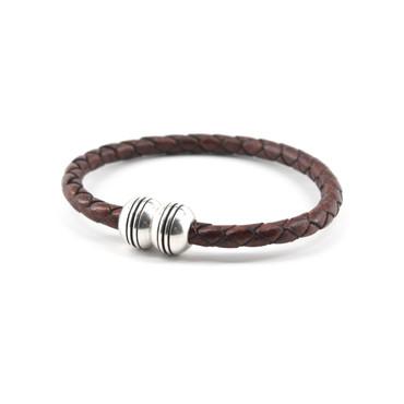Braided Leather Hemisphere Bracelet - Brown