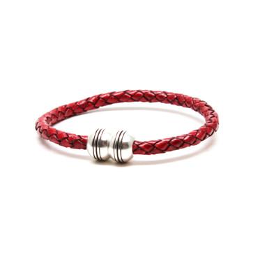 Braided Leather Hemisphere Bracelet - Red