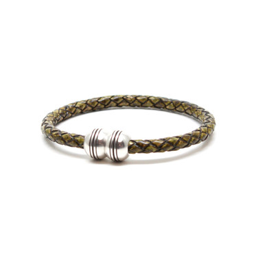 Braided Leather Hemisphere Bracelet - Olive