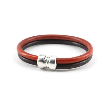 "Genuine Leather ""Art-Deco"" Bracelet - Brown/Orange"