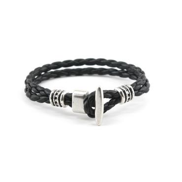 "Braided Leather ""Phoenix"" Bracelet - Black"