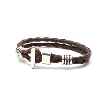 """Braided Leather """"Phoenix"""" Bracelet - Vintage Brown"""