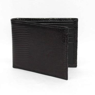 Genuine Lizard Billfold Wallet - Black