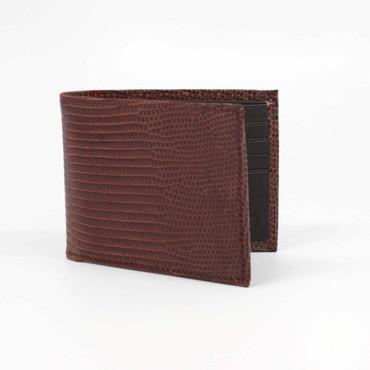 Genuine Lizard Billfold Wallet - Cognac