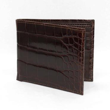 Genuine Alligator Billfold Wallet - Brown