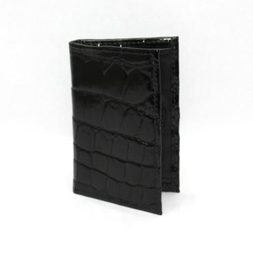 Genuine Alligator Gusseted Cardcase - Black