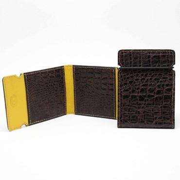 Embossed Alligator Calfskin Cash Cover - Brown