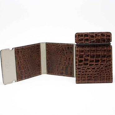 Embossed Alligator Calfskin Cash Cover - Cognac