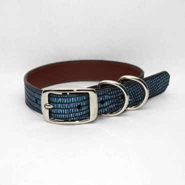 Metallic Lizard Dog Collar - Antiqued Blue