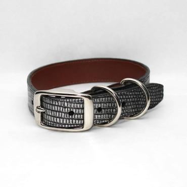 Metallic Lizard Dog Collar - Antiqued Silver