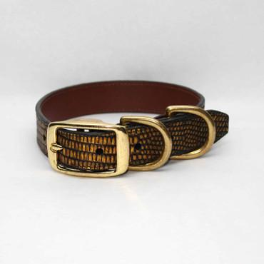 Metallic Lizard Dog Collar - Gold