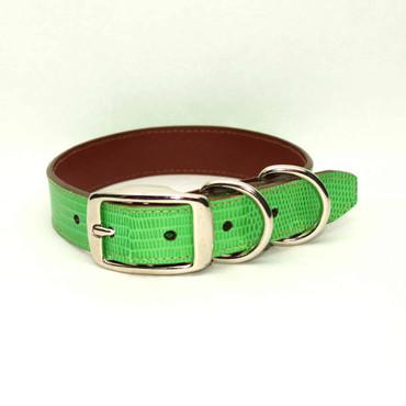 Genuine Lizard Dog Collar - Lime