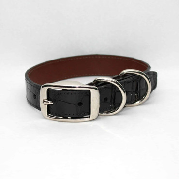 Genuine Alligator Dog Collar - Black