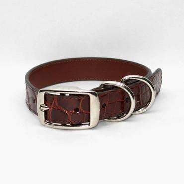 Genuine Alligator Dog Collar - Cognac