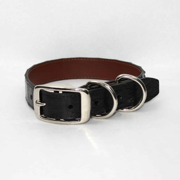Genuine Caiman Dog Collar - Black