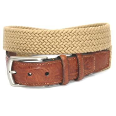 Italian Woven Cotton Elastic Belt - Camel