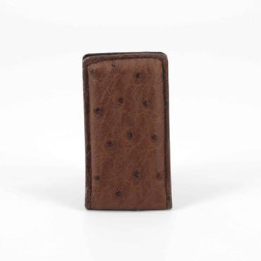 Genuine Ostrich Magnetic Money Clip - Brown