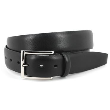 Italian Glazed Milled Calfskin Belt - Black