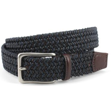 Italian Woven Cotton & Leather Belt - Navy/Brown
