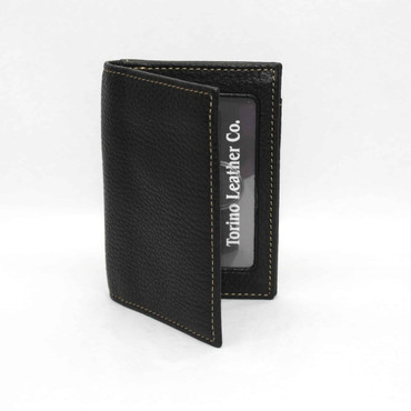 Tumbled Glove Leather Gusseted Card Case - Black