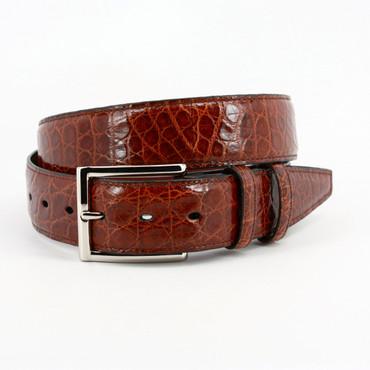35 MM Genuine American Alligator Belt in Cognac