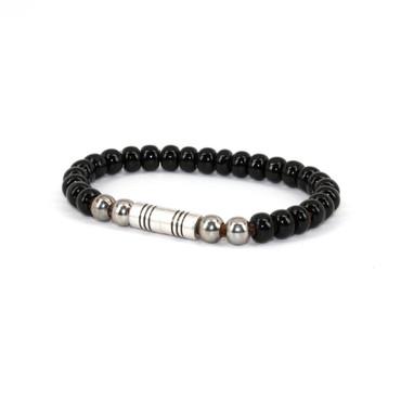 Czech Glass Beads on Leather Bracelet - Black