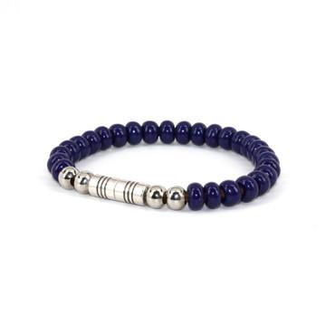 Czech Glass Beads on Leather Bracelet - Navy