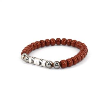 Czech Glass Beads on Leather Bracelet - Med. Brown