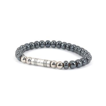 Czech Glass Beads on Leather Bracelet - Gunmetal