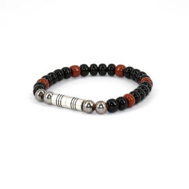 Czech Glass Beads on Leather Bracelet - Black w/Brown