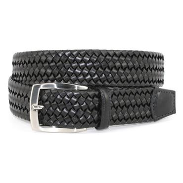 Black Italian Woven Stretch Leather Casual Belt