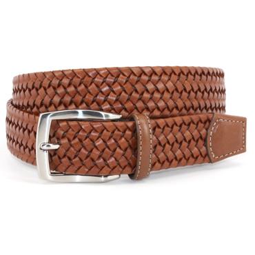 Cognac/Tan Italian Woven Stretch Leather Casual Belt